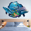 60 x 90cm Underwater World Dolphin Fish Wall Sticker Kid's Bedroom Home Decor