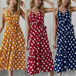 Sling Dress Female Boho V-Neck Dot Print High Waist Summer New Suitable For Vacation And Daily Wear Yellow Wine Red Navy Blue