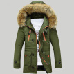 Mens Long Sleeve Hooded Fur Collar Coat Slim Thickening Warm Wadded Jackets