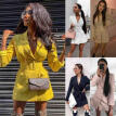 Women Solid Bodycon Lapel Blazer Double Breasted Long Sleeve V-neck Dress Formal