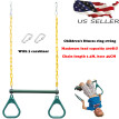 Heavy Duty Steel Trapeze Bar With Rings And Plastic Coated Chains Green