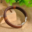Men Vintage Wide Faux Leather Wristband Alloy Buckle Bracelet Cuff Jewelry Gift