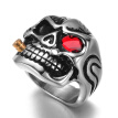 Gold Smoking Pipe Biker Men's Rings Rock Punk Skull Ring Titanium Steel Clear Zircon Eye Plating Rings Men Jewelry