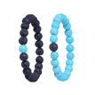 Natural Stone Hand Chain Round Beads Turquoises Bracelets Elastic Couple Bracelet Men Women