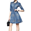 S-5XL Summer Style Women Denim Dress Clothes Vintage Half Sleeve Long Floral Embroidery Dresses Plus Size Vestidos de festa