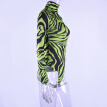 Tight-Fitting Long-Sleeved Shirt Female High-Collar Zebra Pattern Design Style Personality Europe And America Hot Green