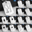 Stainless Steel 26 Initial Letter Alphabet Necklace Military Army Dog Tags Men  Pendant Link Chain Hip Hop Necklaces