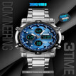 SKEMI 1389 Quartz Man Watch Unique Fashion Sport Casual Brand Quartz Clock Double Movement Stainless Steel Strap Waterproof Wrist