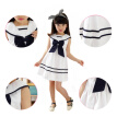 Summer Lovely Girl Children  Sleeveless Princess Navy School Wind Dress Kids Clothing White Cotton Bow Dresses