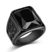 Bluelans Vintage Men Faux Gemstone Tungsten Maple Craved Finger Band Ring Jewelry Gift