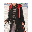 INMAN 2018 winter new hit color hooded drawstring side open long down jacket female 18831VP21074 black M