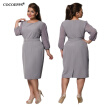 COCOEPPS Autumn Plus Size New Lace Dresses 2017 Winter Large Size Elegant Loose Dress 5XL 6XL Office Evening Vestidos With Belt