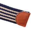 Half cigarette canvas belt men's belt smooth buckle youth Korean version of the belt pin buckle casual outdoor students B-170537 Tibetan blue and white stripes 115