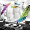 Fashion Feather Simple 3D Background Wall Mural Modern Living Room Restaurant Study Interior Decor Wallpaper Papel De Parede 3D