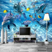 HD Underwater World Deep-sea Fish Photo Wallpaper 3D Stereo Cartoon Mural 3D Kid's Room Living Room TV Sofa Backdrop Wall Decor