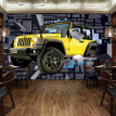 Custom Size 3D Car Through The Wall Wall Paintings Stereo Brick Wall Bar Restaurant Backdrop Decoration Painting Mural Wallpaper