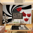 Modern Simple Abstract Art Black And White Striped Flowers Photo Wallpaper Living Room TV Sofa Backdrop Fashion Decor 3D Murals
