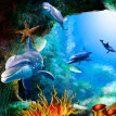 Custom 3D Photo Wallpaper Scenery For Walls Ocean Seabed Cave Cartoon Dolphin Wall Mural Kids Wall Paper Children's Room Decor