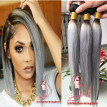 HOT Sale Top Grade Silky Straight Ombre Grey weave Human Hair Extensions 3 Pcs 1B Grey ombre human hair dark roots bundles