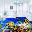 Free Shipping Underwater World Tropical Fish flooring painting store restaurant decoration self-adhesive floor mural 250cmx200cm