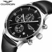 GUANQIN Men's watch top brand luxury chronograph luminous fashion men's sports leather quartz watch