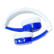 BUDDYPHONES InFlight Student Kids Headphones Travel Edition Fold-In Microphone Learn English Protect Listening Kids Cute Gifts Blue