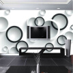Custom Mural Wallpaper Modern Wall Painting 3D Stereoscopic Black And White Circles Living Room TV Backdrop Wallpaper Murals 3D