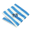 N-0415 Vogue Men Silk Tie Set Blue Stripe Necktie Handkerchief Cufflinks Set Ties For Men Formal Wedding Business wholesale