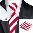N-0242 Vogue Men Silk Tie Set Red White Stripe Necktie Handkerchief Cufflinks Set Ties For Men Formal Wedding Business wholesa