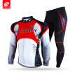 NUCKILY Winter Bicycle Jersey Suit Men's Thermal Fleece Full Length Zipper Top With Tight Cycling Sport Apperal