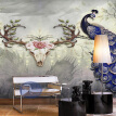 Blue Peacock Auspicious Deer Hand Painted Wall Painting Creative Chinese Style Living Room TV Background Wall Mural Wallpaper 3D