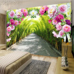 Custom 3D Mural Wallpaper Livingroom Bedroom Sofa Background Wallpaper Garden Flowers Flower Door Gallery Extend Space Wallpaper 70cm x 200cm