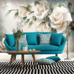 Modern Minimalist Mural Modern Minimalist Mural  European Style White Flowers Oil Paintings Photo Wall Murals Living Room Backdrop