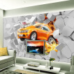 Custom 3D Mural Wallpaper Flame Car Living Room Background Wall Decoration Painting Non-woven Wallpaper For Kids Room Bedroom
