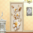 European Style 3D Stereo Relief Flowers Photo Wall Mural Door Sticker Living Room Bedroom PVC Self-Adhesive  Wallpaper 77cmx200cm