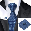 N-0505 Vogue Men Silk Tie Set Blue Geometric Necktie Handkerchief Cufflinks Set Ties For Men Formal Wedding Business wholesale