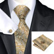 N-0271 Vogue Men Silk Tie Set Yellow Paisley Necktie Handkerchief Cufflinks Set Ties For Men Formal Wedding Business wholesale