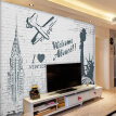 Custom Mural Wallpaper Wall Painting Advertising Welcome To New York 3D Straw Non-woven Wall Paper Bedding Room Sofa TV Backdrop