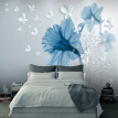 Modern Abstract Art Mural Wallpaper 3D Stereo Blue Flowers Butterfly Photo Wall Painting Living Room Creative Home Decor Fresco