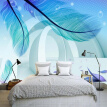 Custom Photo Wallpaper Modern Simple Fashion 3D Stereo Space Blue Feather Creative Art Mural Paintings Wallpaper Living Room