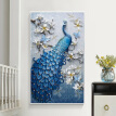 Custom Mural Wallpaper European Style 3D Relief Flowers Blue Peacock Wall Painting Hotel Living Room Study Entrance Decor Murals