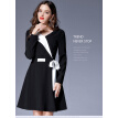 L XL XXL 3XL 4XL 5XL plus size office new autumn 2017 dress women long sleeve big size black and white v neck belt elegant lady