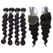 Amazing Star Malaysian Virgin Hair Loose Wave with Closure Good Quality Virgin Human Hair Bundles with Closure Soft and Bouncy