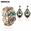 New&Hot Indian Vintage Bangle Earrings Antique Resin Women Bracelet Cuff Long Dangle Earring Turkish Bridal Flower Jewelry Sets