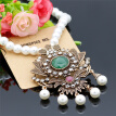 Vintage Flower Strand Bead Pendant Necklace Set Women Antique Simulated-pearl Chain Turkish Indian Wedding Resin Corsage Jewelry