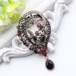 Vintage Turkish Wreath Brooch For Women Arabesque Multicolor Resin Pins Jewelry Antique Gold Color Rhinestone Brooches Broches