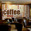Coffee Shop Theme Box Retro Nostalgic Custom European Style English Letters mural Western restaurant wallpaper