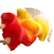 1 Pair Dance Fans Bamboo Ribs Natural Silk Stage Performance Props Dye Fans Women Belly Dance Silk Fans Red+Yellow+White