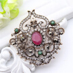 Vintage Women Turkish Flower Brooch Pin Resin Jewelry Rhinestone Brooches Broches Arabia Paisley Pattern Lapel Hijab Pin Corsage