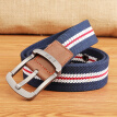 Half cigarette outdoor sports casual canvas belt men's pin buckle belt youth students trend fashion pants belt 1 tide B-170551 blue white bar 115 cm wide 3.8 cm